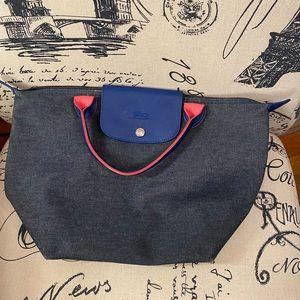 Authentic Longchamp denim small mini tote bag